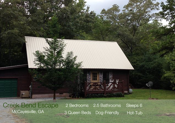 McCayesville, GA Vacation Cabin Rental Fishing Creek Book Today @ 706-781-3892