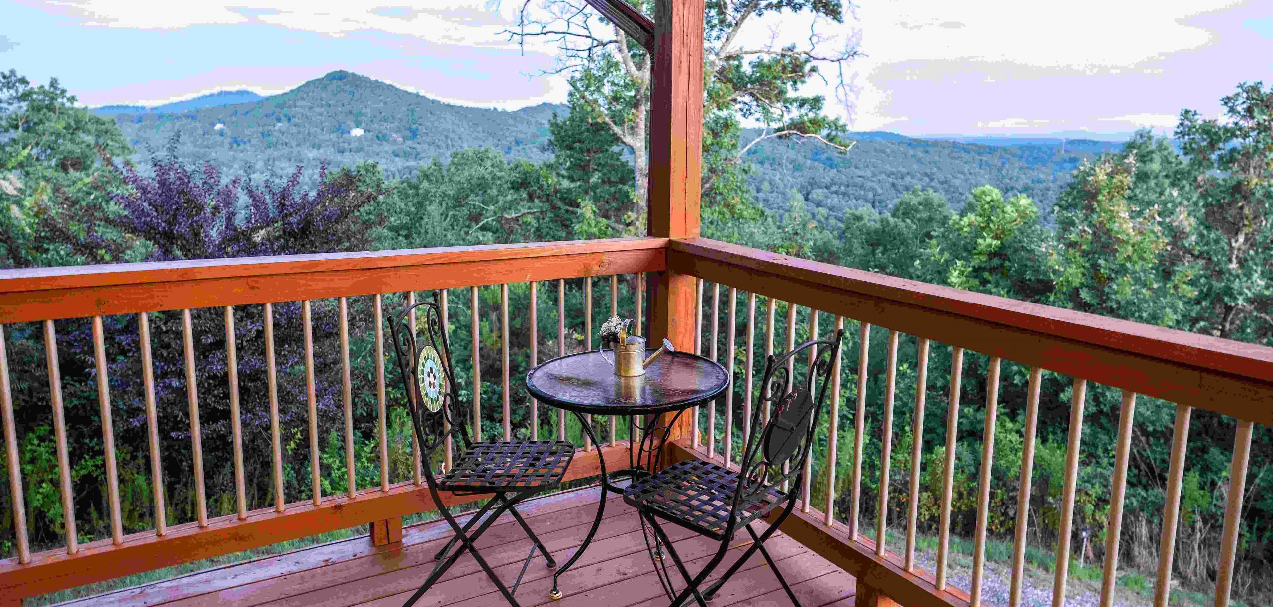 Blue View Moutain Cabin Rental  Balcony View